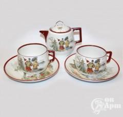 Две чайные пары и молочник с китайскими мотивами