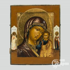 Икона «Богоматерь Казанская с приписными св. Николаем Чудотворцем и Ангелом Хранителем»
