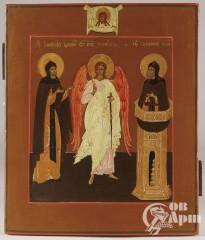 """Икона """"Святой Ангел Хранитель и Преподобные Иосиф и Симеон Столпник"""""""