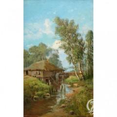"""Картина """"Пейзаж с водяной мельницей"""""""