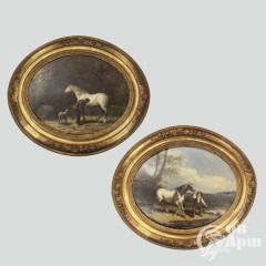 """Картины парные """"Белая лошадь с жокеем"""" и """"Белая лошадь и конюх"""""""