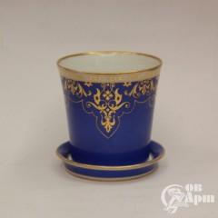 Кашпо голубое с золотом Николай II