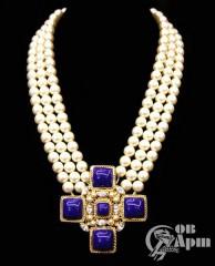 """Колье Chanel """"Крест"""" с жемчужными и синими вставками Gripoix"""