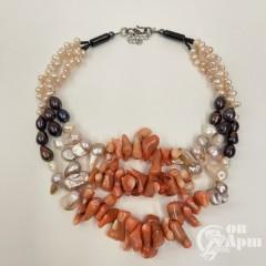 Колье из кораллов и жемчуга, черный, розовый, белый