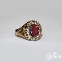 "Кольцо ""Малинка"" с алмазами и рубином"