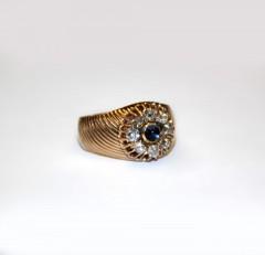 """Кольцо """"Малинка"""" с бриллиантами и сапфиром"""