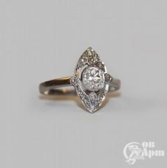 """Кольцо """"Маркиз"""" с бриллиантом и алмазами"""