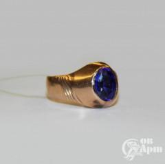 Кольцо мужское с синим дублетом