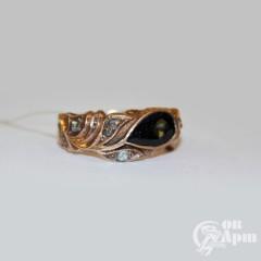 Кольцо мужское с турмалином и алмазами