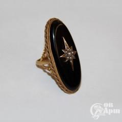 Кольцо с агатом и жемчугом