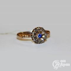Кольцо с алмазами и выращенной шпинелью