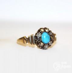 Кольцо с бирюзой и алмазами