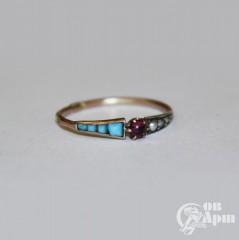 Кольцо с бирюзой и жемчугом