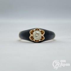 Кольцо с бриллиантом и эмалью