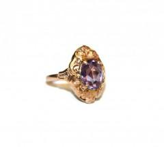 Кольцо с прозрачной фиолетовой вставкой