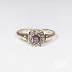 Кольцо с розовой шпинелью и алмазами