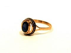 Кольцо с сапфиром и черной эмалью