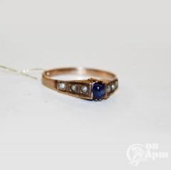 Кольцо с сапфиром и жемчугом