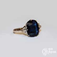 Кольцо с синим стеклом