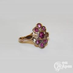 Кольцо с выращенными рубинами