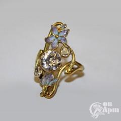 Кольцо в стиле модерн с бриллиантом и эмалью