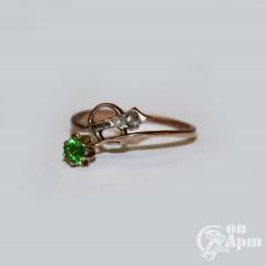 """Кольцо """"Веточка"""" со стеклом и алмазами"""