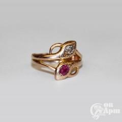 "Кольцо ""Змейки"" с рубином и бриллиантом"