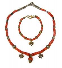 Комлект: бусы и браслет с кораллами, бижутерия
