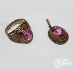 Комплект: кольцо и подвеска