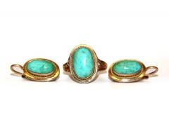Комплект: кольцо и серьги с бирюзой