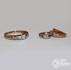 Комплект: кольцо и серьги с бриллиантами