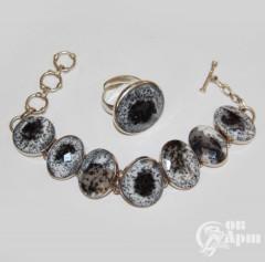 Комплект с агатами: браслет и кольцо