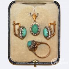 Комплект с бирюзой и бриллиантами