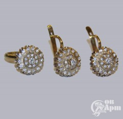 Комплект: серьги и кольцо с бриллиантами
