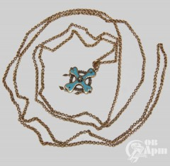 Крест с голубой эмалью и алмазами