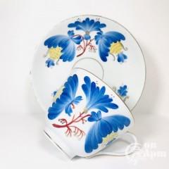 Крупная чайная пара «Синий цветок»