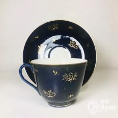 Крупная чайная пара «Золотые букеты»