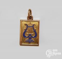"""Медальон """"Лира"""" с синей эмалью"""