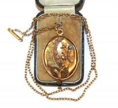 Медальон на цепи с бирюзой и жемчугом