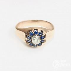 Перстень с бриллиантом и синей королевской шпинелью