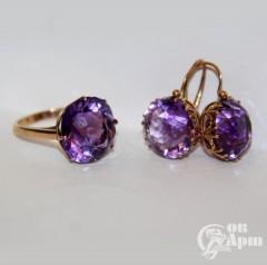 Серьги и кольцо с аметистами