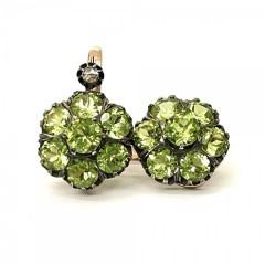 Серьги малинки с хризолитами и алмазами