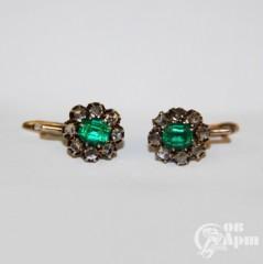 """Серьги """"Малинки"""" с алмазами и ювелирным стеклом"""