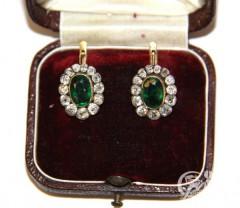 """Серьги """"Малинки"""" с зелеными дублетами и бриллиантами"""
