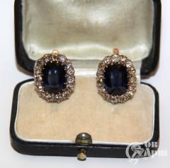 Серьги с бриллиантами и сапфирами выращенными