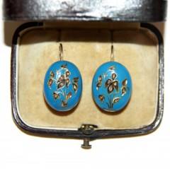 Серьги с голубой эмалью и алмазами 1870 г.
