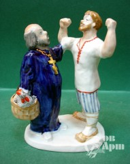 """Скульптура из триптиха """"Сказка о попе и работнике его Балде"""""""