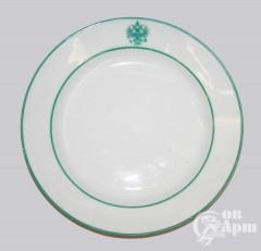 Тарелка сервизная с зеленым гербом