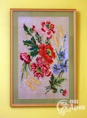 """Вышивка крестиком """"Полевые цветы"""" в рамке"""