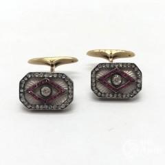 Запонки с эмалью, бриллиантами и рубинами выращенными